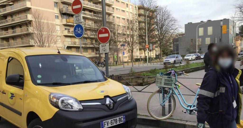 La Poste devant la barrière de la rue de l'Harmonie (Photo le Progrès)